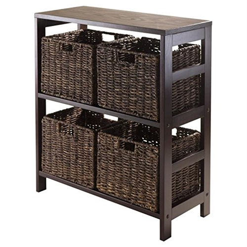 Granville 5pc Storage Shelf with 4 Foldable Baskets, Espresso by Ergode