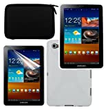Skque Premium LCD Screen Protector + Black EVA Cover Carrying Case + TPU White Gel Case for Samsung Galaxy Tab 7.7 P6800