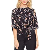 Vince Camuto Womens Bell Sleeve Tie Front Floral Soiree Keyhole Blouse Rich Black MD