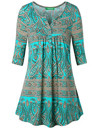 - Kimmery Flattering Tops for Women, Ladies Tunic Fashion Crewneck Flare Floral Printed Loose Casual Spandex Thin Half Sleeve Wear to Beach Tunic Shirt Top Green Large