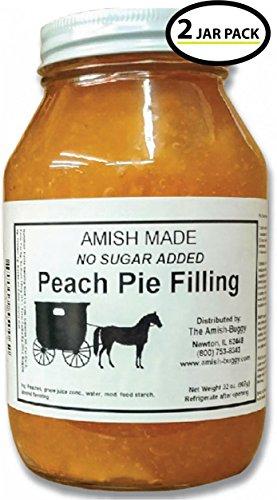 (Amish Pie Filling No Sugar Added Peach- TWO 32 Oz Jars)