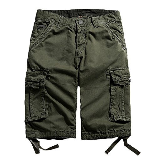 Dyed Twill Short - MADHERO Mens Cotton Twill Relaxed Fit Cargo Shorts (34, Military Green)