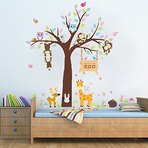 Woodland Arts 3ft x 3ft Jungle Cute Monkeys Giraffe Rabbits Trees Zoo Animal Removable Vinyl Wall Decals Stickers for Children Room Nursery