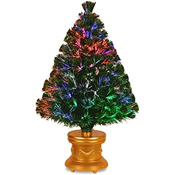 national tree 36 inch fiber optic evergreen firework tree with multicolor lights in gold base - Small Fiber Optic Christmas Tree