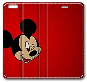 Cartoons Mickey Mouse iPhone 6 Case,Leather iPhone 6 Cover Case