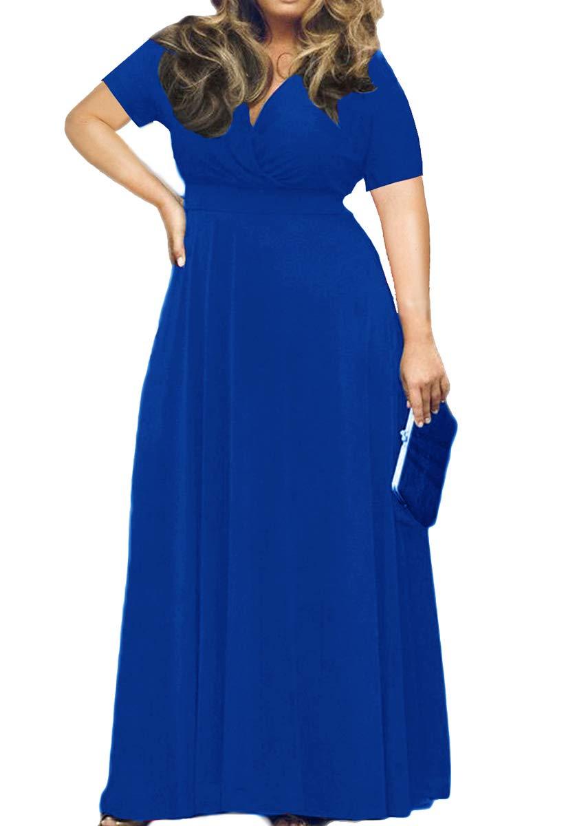 HWOKEFEIYU Women\'s V-Neckline Stretchy Casual Plus Size Bridesmaid  Dress(Royal Blue,4XL)