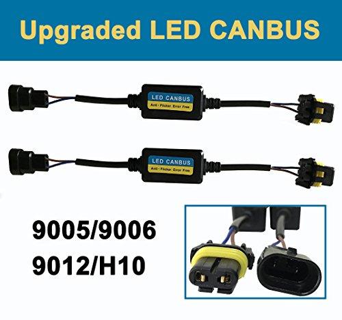 9005 9006 LED Faro Canbus última intervensión de Error Antiparpadeo Resistencia Decodificador (Pack de 2), H4 9003 LED Anti...