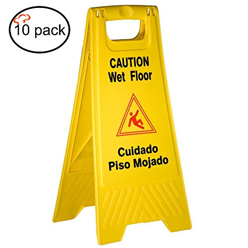 Tiger Chef Yellow Wet Floor Caution Sign, 2-sided Fold-ou...