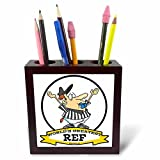 3dRose ph_103496_1 Funny Worlds Greatest Ref Referee Cartoon-Tile Pen Holder, 5-Inch