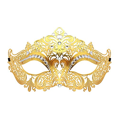 [WINK KANGAROO Laser Cut Metal Lady Masquerade Halloween Mardi Gras Party Mask (Gold metal white] (Masquerade Masks Metal)