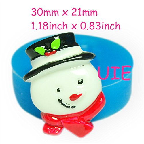 (118LBJ Snowman Silicone Mold with Hat & Scarf Sugarcraft Food Safe Polymer Clay Resin Cookie Butter Soap Wax)