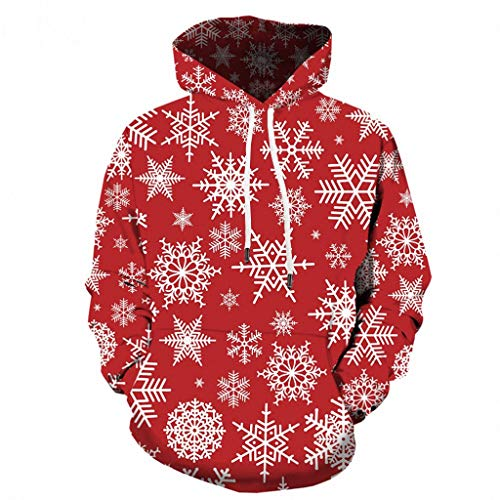 FANSHONN Men's Christmas Sweatshirt 3D Snowflake Printed Casual Novelty Xmas Pullover Long Sleeve Hoodies