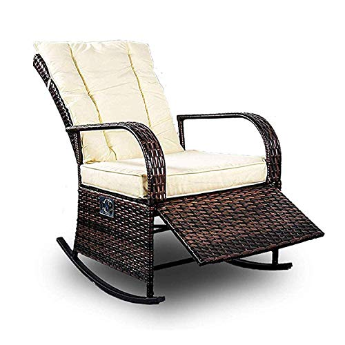 Patio PE Rattan Wicker Rocking Chair Auto Adjustable Patio Sofa Relaxing Lounge Chair Outdoor Furniture (Brown)