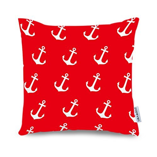 Popeven Anchor Pattern Pillow Sham for Sofa 18 x 18 Inch Red Canvas Accent Cushion Cover for Couch Nautical Decorative Throw Pillows Cover