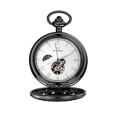 OUYAWEI Antique Fob Watch Skeleton Carved Case Moon Phase Mechanical Pocket Watch (Black ()
