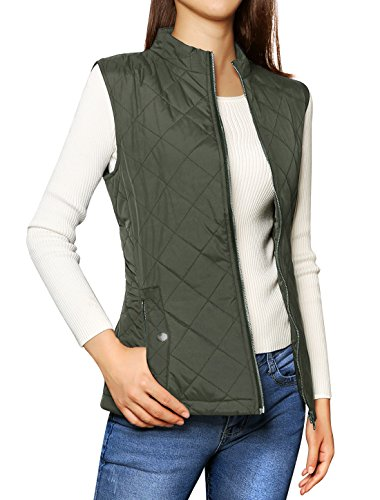 Allegra K Women's Zip Up Front Stand Collar Quilted Padded Vest Green S