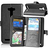 Asus Zenfone 2 Laser ZE550KL Case,Gift_Source [Multi Card Wallet] [Photo card slots] PU Leather Wallet with Built-in 9 Card Slots Folio Flip Case For Asus Zenfone 2 Laser 5.5 ZE550KL,ZE551KL [Balck]