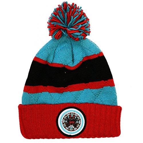 NBA Mitchell & Ness Vintage Jersey Stripe Hi Five Knit Hat with Pom (One Size, Vancouver - Vancouver Jersey Vintage
