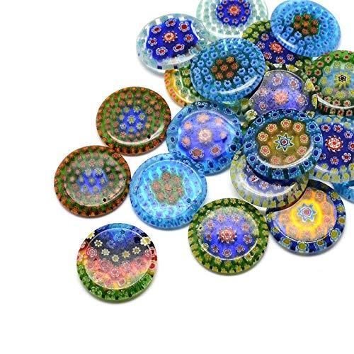 50Pcs Flat Round Handmade Millefiori Glass Pendant Mixed Color 30x4mm Hole 1.5mm