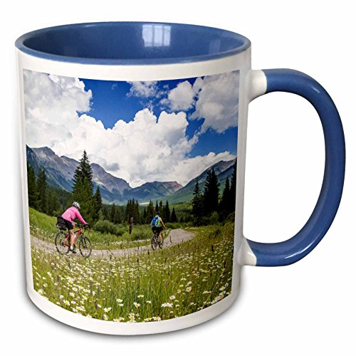 3dRose Danita Delimont - Biking - Biking, Great Divide Route, British Columbia, Canada - CN02 CHA0048 - Chuck Haney - 15oz Two-Tone Blue Mug (mug_135006_11)