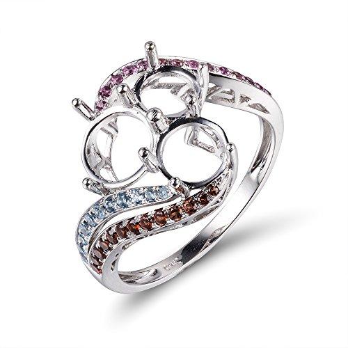 's Bridal Three Round Natural Diamond Semi Mount Ring Set No center Stone (Semi Mount 3 Stone Ring)