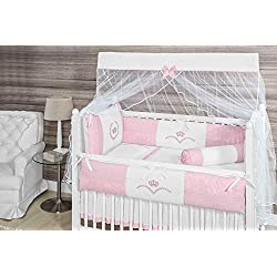 Crown Themed Pink Baby Girls 10 Pcs Nursery Crib Bedding Set Embroidered
