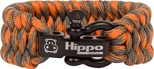 Hippo Survival Paracord Bracelet with Black Metal Shackle and Adjustable Size - Orange Camo