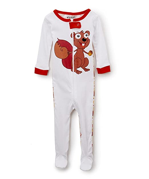 dff38aeff7 Amazon.com  Elowel Baby Girls Footed Chipmunk Pajama Sleeper 100% Cotton  18-24 Months  Clothing