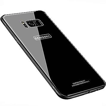 Kepuch Quartz Funda para Samsung Galaxy S8 - TPU Suave + Contraportada Hecha de Vidrio Templado Case Carcasa para Samsung Galaxy S8 - Negro