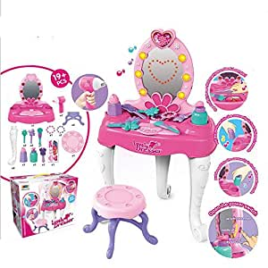 Ceepko Pretend Play,Makeup Playset,Playset Accessories,girls Makeup Kit For Kids,kids Makeup,Vanity Table And Chair Beauty Mirror,with Flashing Lights, Music, Accessories