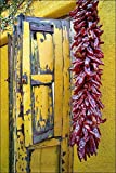 Yellow wooden window shutters with dried red peppers hanging on Southwest yellow adobe wall in the old Barrio historic section of Tucson, AZ