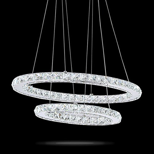 VALLKIN LED Crystal Ceiling Pendant Light Lamp Cristal Chandeliers Lighting Fixtures 45W Oval L26.77'' W14.17'' by VALLKIN