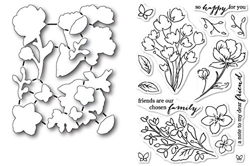 (Poppy Stamps Friends and Flowers Stamp and Die Set)