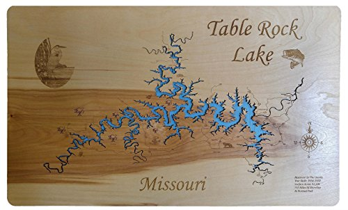 Table Rock Lake, Missouri: Standout Wood Map Wall Hanging for sale  Delivered anywhere in USA