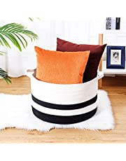 """catalpa yao Round Cotton Rope Woven Basket XXXL Large Storage Bins with Handles, for Blankets Laundry Toys Towel, Decorative Organizer for Living Room, Bathroom, 20x13"""", White & Black"""
