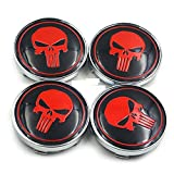 4pcs 60mm Car Emblem Wheel Hub Caps Centre Cover Skull Punisher War Zone Red