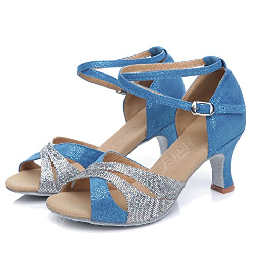 Fish Pumps Mid Strap Womens Heel Buckle Shoes Latin Sandals Ankle Dancing Mouth Cross Sequins Blue Xianshu qzgwUpRxnp