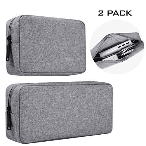 Portable Electronics Accessories Storage Bag, 2PCS Big + Small Carrying Case Travel Cable Organizer Cosmetic Bag Pouch Compatible Hard Drive, Power Bank, Mouse, Laptop Charger, Cellphone, Gray