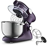 Gourmia EP700 7-Quart 6 Speed Stand Mixer, Planetery Action with Stainless Steel Bowl (Purple)- Includes Free Recipe Book