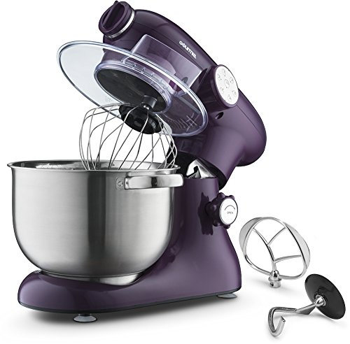 Gourmia EP700 7-Quart 6 Speed Stand Mixer, Planetery Action with Stainless Steel Bowl (Purple)- Includes Free Recipe Book (Stand Mixer Purple)