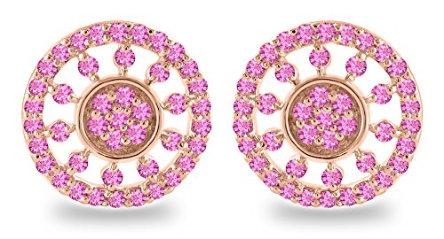 0.95 Carat (ctw) 18K Rose Gold Round Cut Real Natural Pink Sapphire Stud Earrings For women (Sapphire Natural Round Cut)