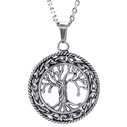 KONOV Mens Womens Celtic Tree of Life Stainless Steel Pendant Necklace, Silver, 24 inch Chain