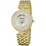 MINHIN Iced-out Shinning Wrist Watch Rhinestone with Heart Shell Watch