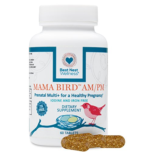 Mama Bird AM/PM Prenatal Multivitamin Iron + Iodine Free | Methylfolate (Folic Acid), Methylcobalamin (B12), 100% Natural Whole Food Organic Herbal Blend, Vegan, Twice Daily Vitamin, 60 Count …… (Prenatal Iodine Vitamins)