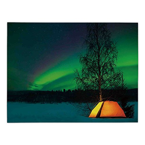 Polyester Rectangular Tablecloth,Northern Lights,Camping Tent under Magnetic Field Nature Picture,Lime Green Dark Blue Earth Yellow,Dining Room Kitchen Picnic Table Cloth Cover,for Outdoor Indoor