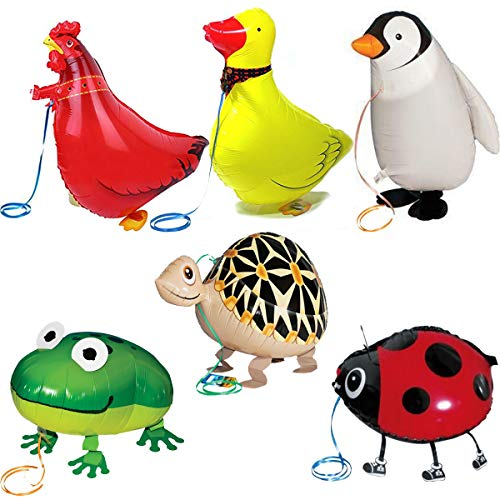 Walking Animal Balloons Farm Animals - 6 Pack Animal Balloons Air Walkers For Kids Gift Birthday Party Decor