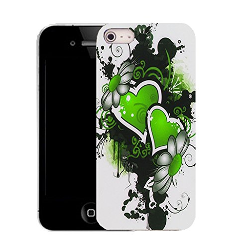Mobile Case Mate IPhone 5S clip on Silicone Coque couverture case cover Pare-chocs + STYLET - green double heart pattern (SILICON)