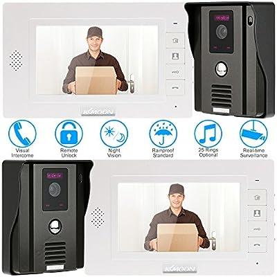 "KKmoon 7"" Video Doorbell Video Door Phone TFT LCD Touch Screen Unlock IR Night Vision Rainproof Camera Monitor two-way Intercom unlock, real-time surveillance Home Security system"