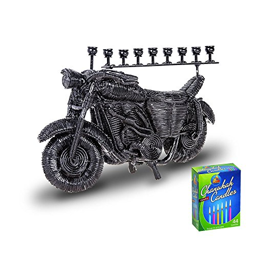 Motorcycle Menorah with Box of Colorful Candles