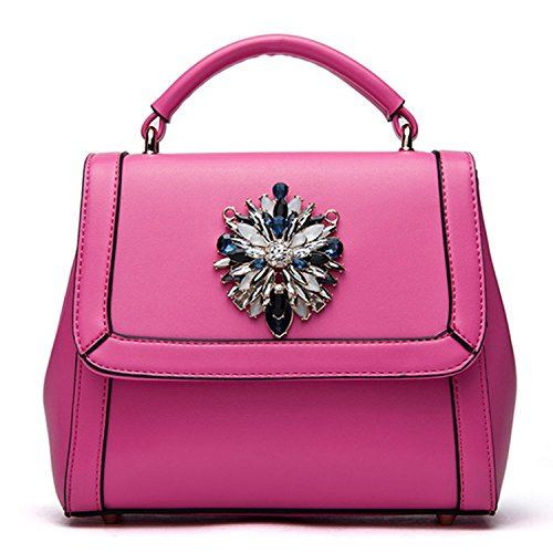 Bagtopia Women's Fashion Sparkly Diamond Rhinestone Top-handle Handbag Cute Small Satchel Purse With Flap Plum Dodo22dmcd
